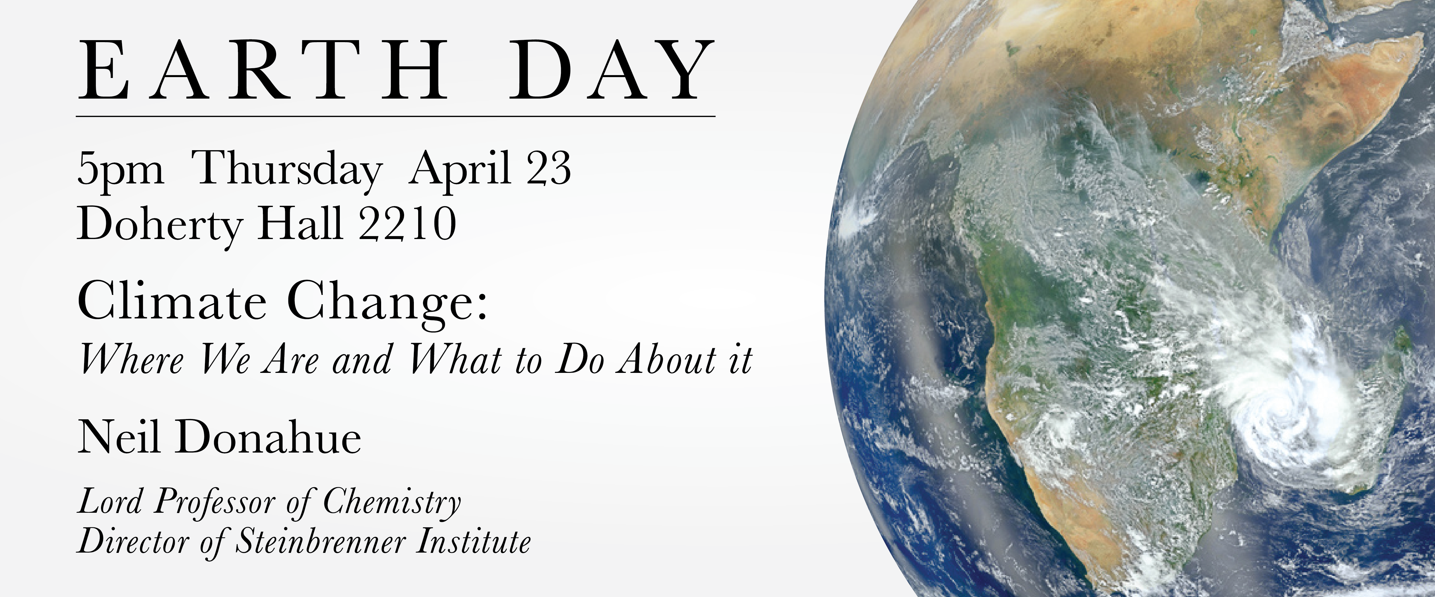 Earth Day! Featuring Prof. Neil Donahue Banner